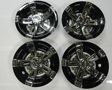 "GOLF CART HUB CAPS WHEEL COVER 8"" VEGAS BLACK & CHROME CLUB CAR EZ-GO YAMAHA"