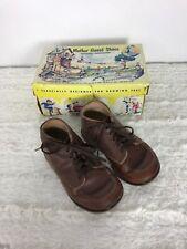 1954 VINTAGE MOTHER GOOSE Toddler SHOES in Orig. Box LITHO Brown Walkers Sz 5 EE