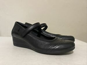 BOOTLEG BY CLARKS Black Leather Low Wedge Heeled Mary Jane Shoes UK 4.5 E