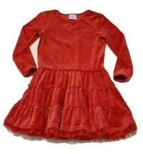 Hanna Andersson Dress Red Twirl Velvet Tiered Ruffle Girl Velour 120 6 7 yr