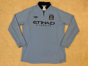 Manchester City 2012-2013 Home Football Shirt Long Sleeve Size: Adults Large