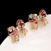Fashion Korean Elegant Bow-Tie Model Jewelry Colorful Rhinestone Alloy Earrings