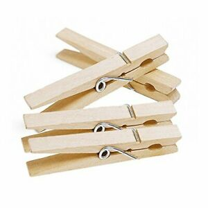 48 Pcs STRONG WOODEN CLOTHES PEGS WITH RUST FREE SPRINGS SOLID WOOD DESIGN