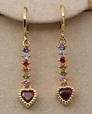 18K Yellow Gold Filled -1.6'' Heart Ruby Topaz Zircon Lady Hoop Wedding Earrings
