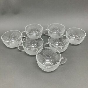 Arcoroc France Aspen Punch Bowl Glass Cups Clear Leaves Lot of 7