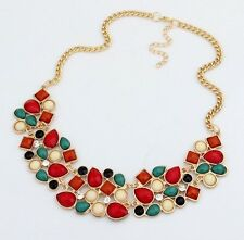 Vintage Gold Chain Multicolor Stone Crystal Bib Statement Collar Necklace Choker