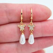 18K Yellow Gold Filled Clear Topaz White Teardrop Pearl Cute Butterfly Earrings
