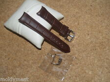 QUALITY 22mm BROWN CROC GRAIN LEATHER WATCH STRAP WITH CURVED ENDS & 2 BUCKLES