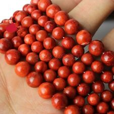 """6mm Natural Red Grass Coral Round Gemstone Loose Beads 15""""AAA"""