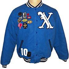 10 Profundo Streetwear Azul Universitaria X Letterman Jacket Parches Extra L, XL
