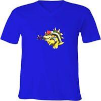 Nintendo Mario Bowser Tennis Unisex Men Women V-Neck Family Video Game T-Shirt