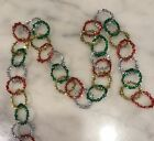Vintage Multi-Color Christmas Tinsel Garland - Gold Silver Red Green Circles