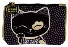 Mani The Lucky Cat Wallet Purse Lucky Charm Maneki Neko Coin Bag Black - NEW