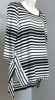 Chico's Sz 0 XS/S Black & White Stripe Rayon Knit Tunic Top Hi-Lo Hem 3/4 Sleeve