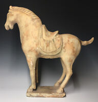 Antique Chinese Tang Dynasty (618-907) Terracotta Pottery Horse Sculpture Statue