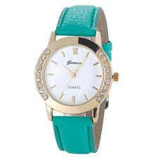 New Geneva Fashion Women Diamond Analog Leather Quartz Wrist Watch Watches
