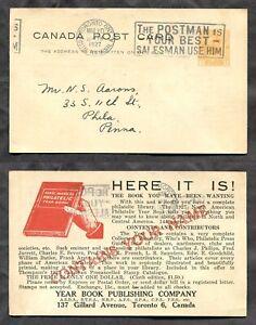 3007 - TORONTO 1927 Admiral Postal Card. Philatelic Year Book ADVERTISING Slogan