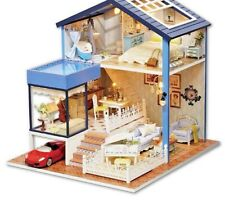 Dollhouse Miniature DIY Wooden Furniture Handmade Doll House Toys Gift LED Child