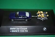HERPA BMW 3er coupé + BMW 1100RS EN BOITE VITRINE 1/87eme