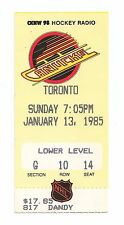 Vancouver Canucks vs Toronto Maple Leafs NHL Hockey Ticket Stub 1/13/85