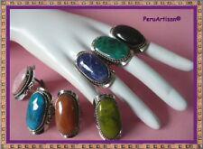 Semi Precious Stones Lot 40 Peru Big Rings Oval Shape Adjustables Handmade