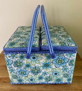 !! MISSING TRAY!! SEWING BOX BASKET TWIN LID 'Lydia' Design