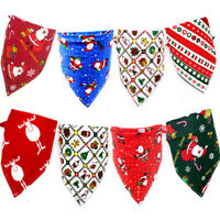 Christmas Pet Bandanas Dog Cat Scarf Santa Adjustable Bib Triangular Neck Ties