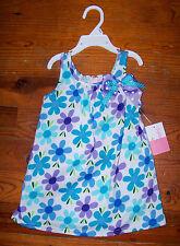 New! Girls SOPHIE ROSE Blue White Purple Cotton Polka Dot Flower Dress 24 Months