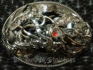 Men Thai  Buckle  Belt  the Dragon , Stainless  Steel, Unique  By Thai Hand Made