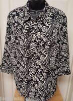 Kim Rogers Womens Black White Floral Button Down Shirt Top Blouse Size 1X