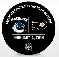 Philadelphia Flyers Issued Unused Warm Up Puck 2/4/19 Vs Vancouver Canucks