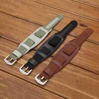 Herren Militär Armee Uhrenarmband Nylon & PU Leder Bund Strap Manschette ~* Y5E3