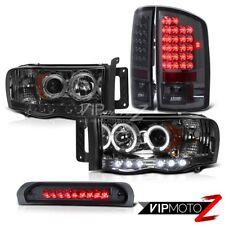 2002-2005 Dodge Ram 1500 2500 3500 Smoke Halo LED Headlights Third Brake Lamps