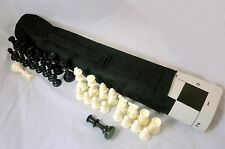 Quiver Chess Set Combo: Black Chess Bag, Black Board, Black & White Chess Pieces