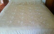 Vtg Fabulous Silk Floral Hand Embroidered Piano Shawl - Lt Ecru Rare