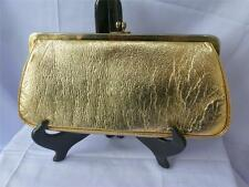 Vintage J R Florida Metallic Gold Faux Leather Evening Clutch, 1960's  Md in USA