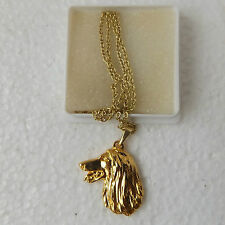 Afghan Hound Head Pendant Chain Necklace Gold Plated Dog Breed Handcrafted
