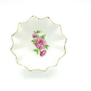Vintage Adderley Bone China Pin Dish Butter Pad Pink Flower Gold Trim England
