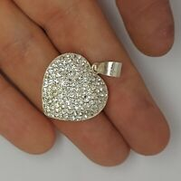 Solid sterling silver 925 pendant Az715 heart bling sparkly love jewellery .