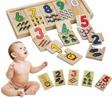 Kids Educational Wooden Toys Math Digital Shapes Pairing Learning Counting Board