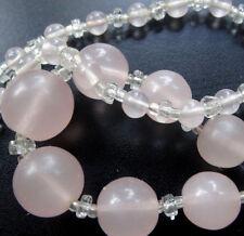 vintage art deco retro sugar pink glass bead graduated necklace -A114