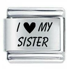 I LOVE MY SISTER - Daisy Charms by JSC Fits Classic Size Italian Charm Bracelet