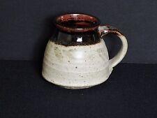 Stoneware Pottery Travel Mug Non-slip Bottom Oatmeal, Brown with Green Designs