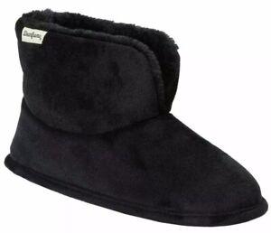 Dearfoams Women's Sara Velour Bootie Slipper Black Size 11 EUR 42-43 > NEW