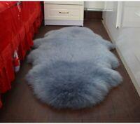 DOUBLE Australian Premium Soft Sheepskin Lambskin Rug Pelt Gray Fur Carpet