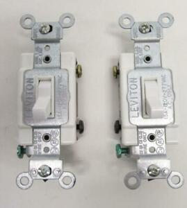 TWO Leviton White 4-WAY COMMERCIAL Framed Toggle Wall Light Switch 15A 182-54504