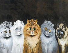 Wain William Louis Five Big Eye Cats Print 11 x 14   #4031