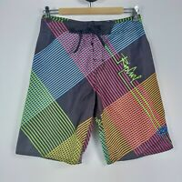 """Rip Curl Boys Size 12 28"""" Multicoloured Board Shorts Pockets Embroidered Black"""
