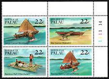 Palau 67-70a Bl/4, MNH. Canoes and Rafts, 1985