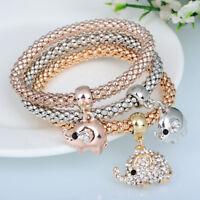 1-3Pcs Bracelets Set Jewelry Elephant Gold Silver Rose Gold Rhinestone Bangle